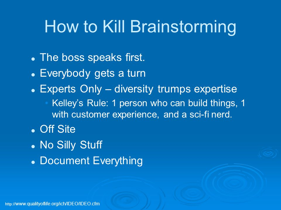 How to Kill Brainstorming The boss speaks first.