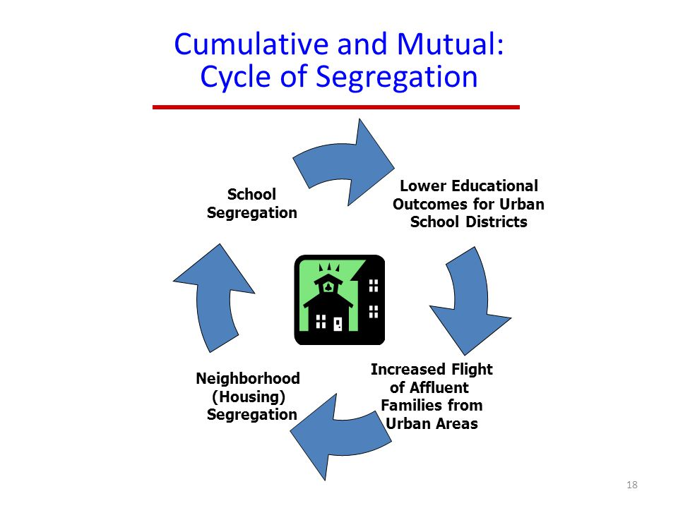 Cumulative and Mutual: Cycle of Segregation Lower Educational Outcomes for Urban School Districts Increased Flight of Affluent Families from Urban Areas Neighborhood (Housing) Segregation School Segregation 18