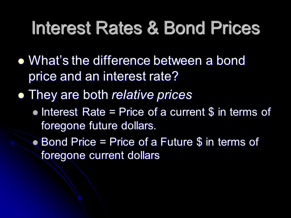 Interest Rates & Bond Prices What's the difference between a bond price and an interest rate.