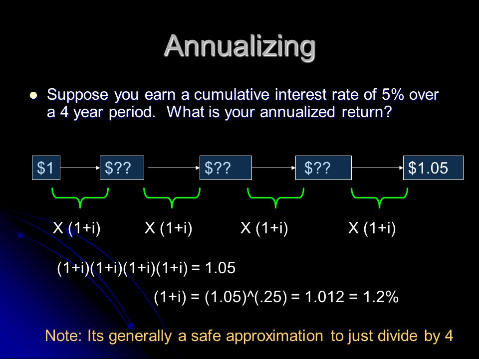 Annualizing Suppose you earn a cumulative interest rate of 5% over a 4 year period.