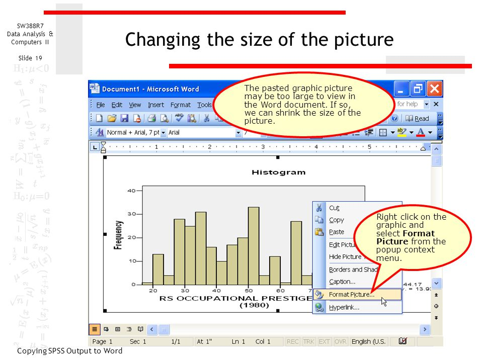 SW388R7 Data Analysis & Computers II Slide 19 Changing the size of the picture Copying SPSS Output to Word Right click on the graphic and select Format Picture from the popup context menu.