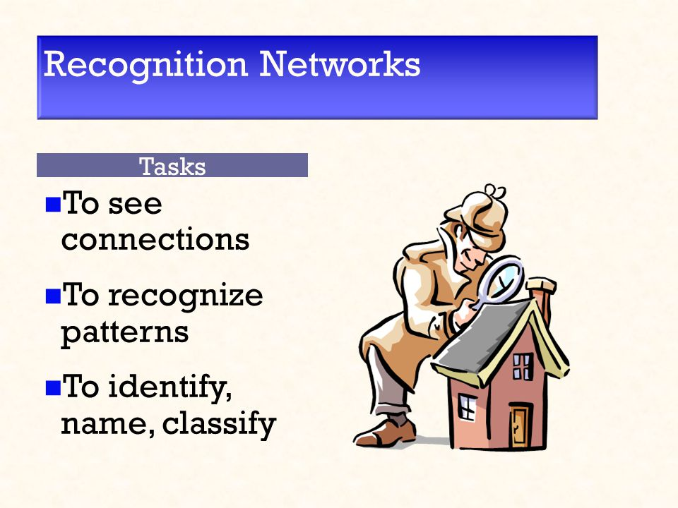 Recognition Networks To see connections To recognize patterns To identify, name, classify Tasks
