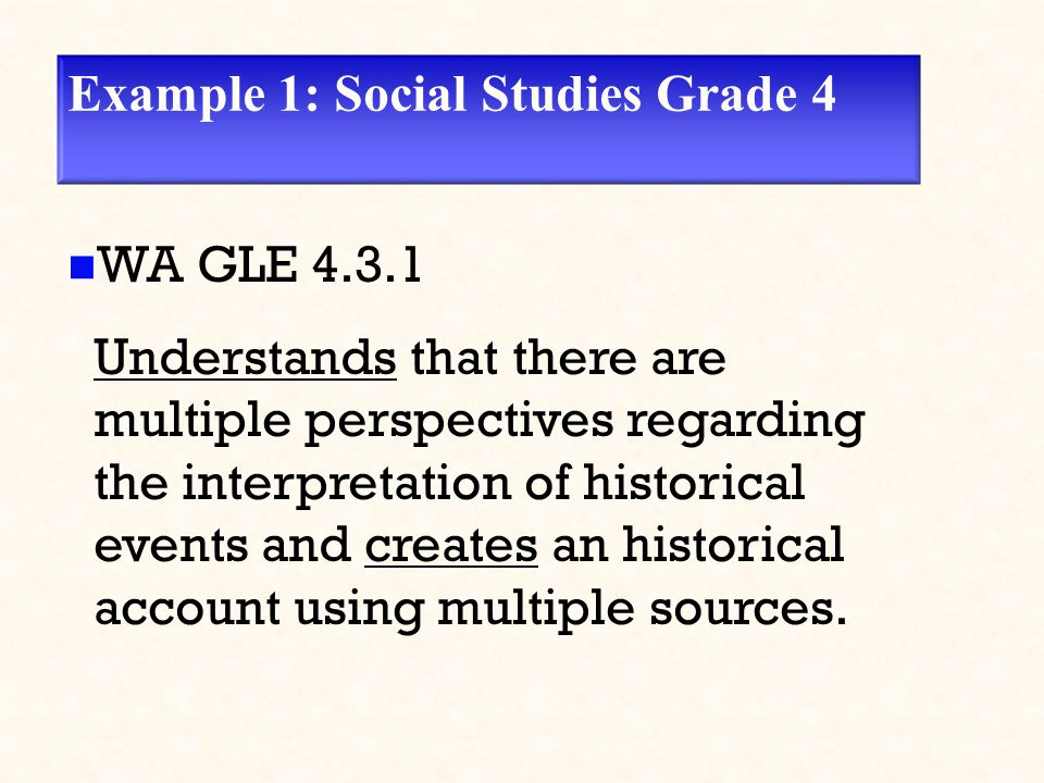Example 1: Social Studies Grade 4 WA GLE 4.3.1 Understands that there are multiple perspectives regarding the interpretation of historical events and creates an historical account using multiple sources.