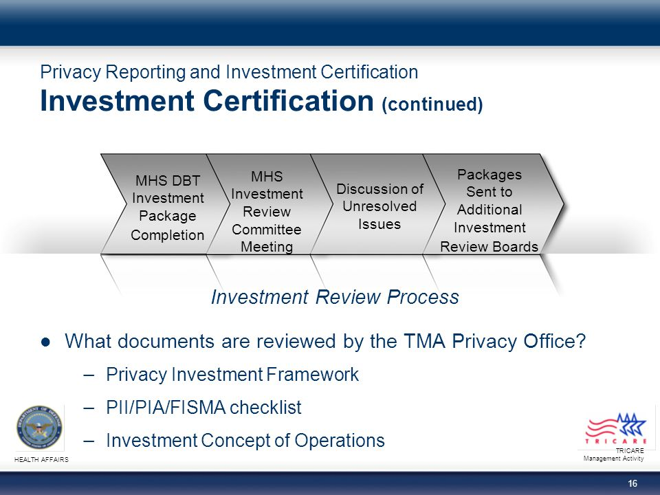 TRICARE Management Activity HEALTH AFFAIRS 16 Privacy Reporting and Investment Certification Investment Certification (continued) What documents are reviewed by the TMA Privacy Office.