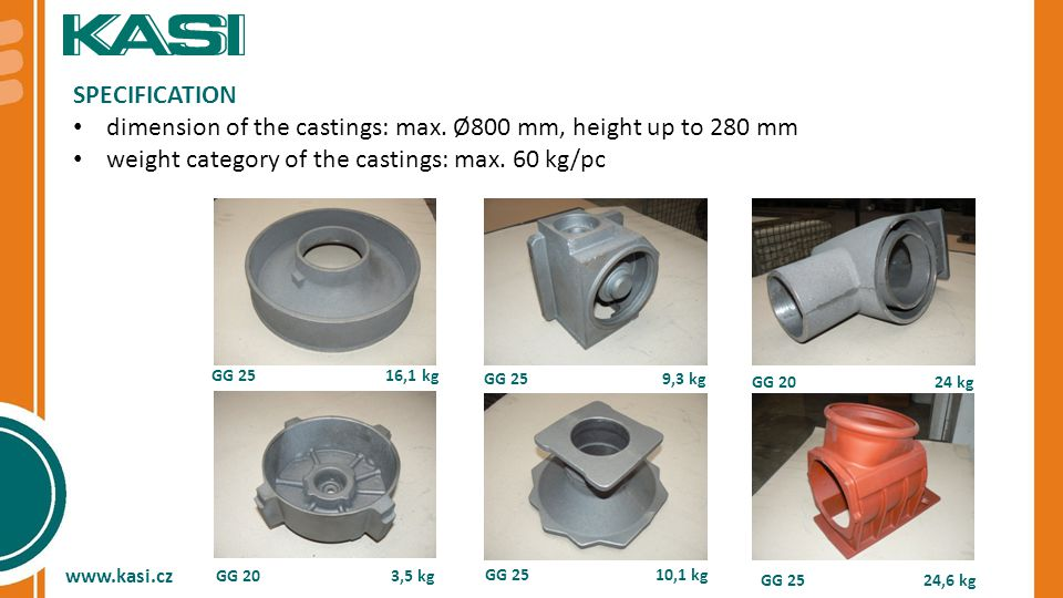 SPECIFICATION dimension of the castings: max.