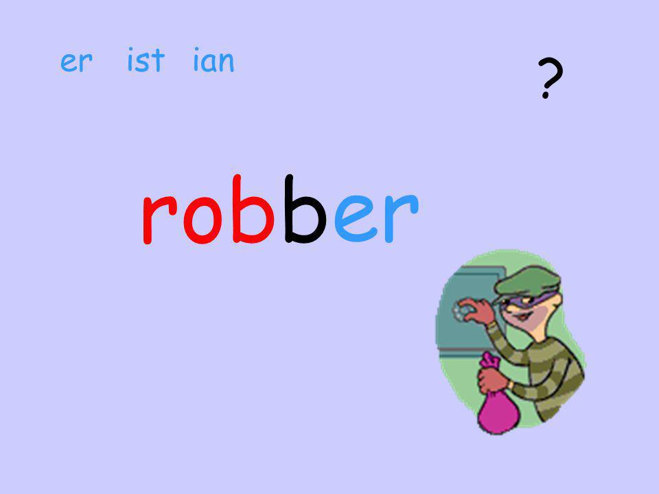 robs A person who is a ………………………… er ist ian