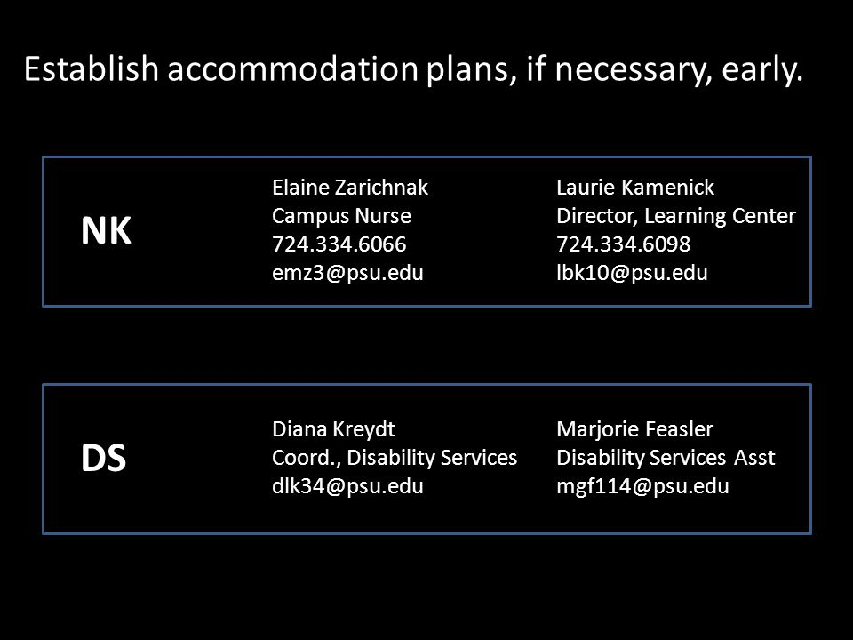 Establish accommodation plans, if necessary, early.