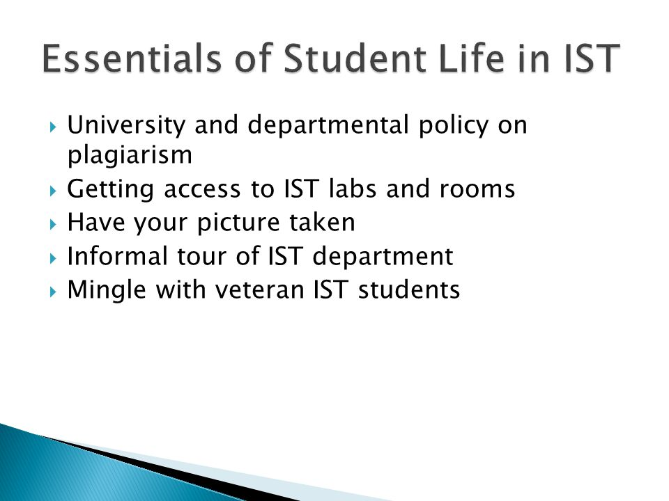  University and departmental policy on plagiarism  Getting access to IST labs and rooms  Have your picture taken  Informal tour of IST department  Mingle with veteran IST students