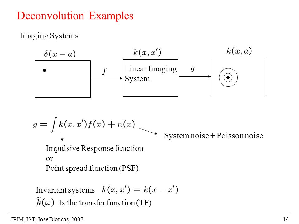 IPIM, IST, José Bioucas, 2007 14 Deconvolution Examples Imaging Systems Linear Imaging System System noise + Poisson noise Impulsive Response function or Point spread function (PSF) Invariant systems Is the transfer function (TF)