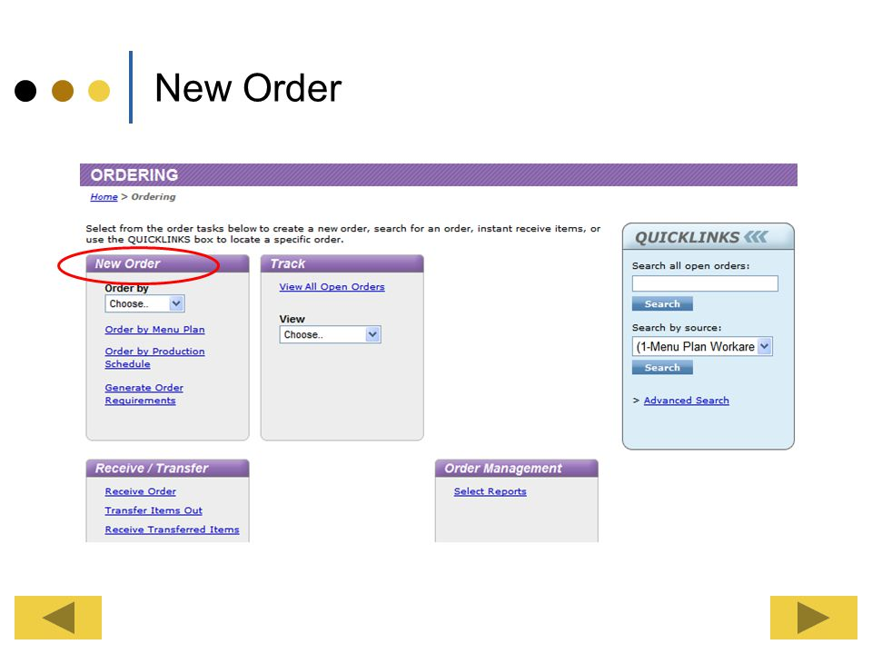 Ordering Click the Ordering Tab