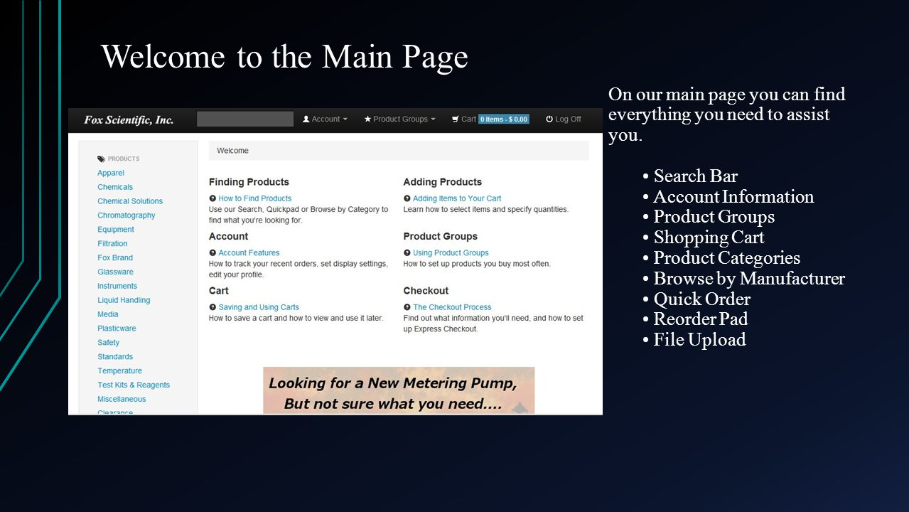 Welcome to the Main Page On our main page you can find everything you need to assist you.