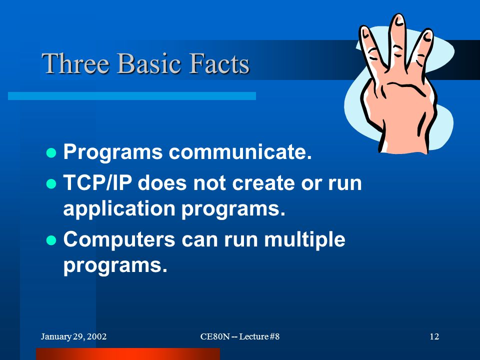 January 29, 2002CE80N -- Lecture #812 Three Basic Facts Programs communicate.