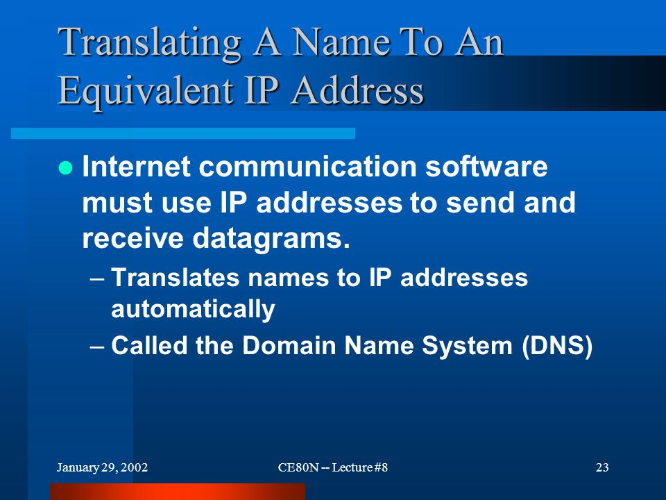 January 29, 2002CE80N -- Lecture #823 Translating A Name To An Equivalent IP Address Internet communication software must use IP addresses to send and receive datagrams.