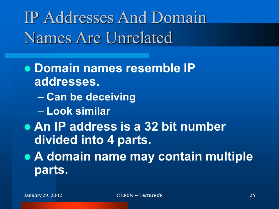 January 29, 2002CE80N -- Lecture #825 IP Addresses And Domain Names Are Unrelated Domain names resemble IP addresses.