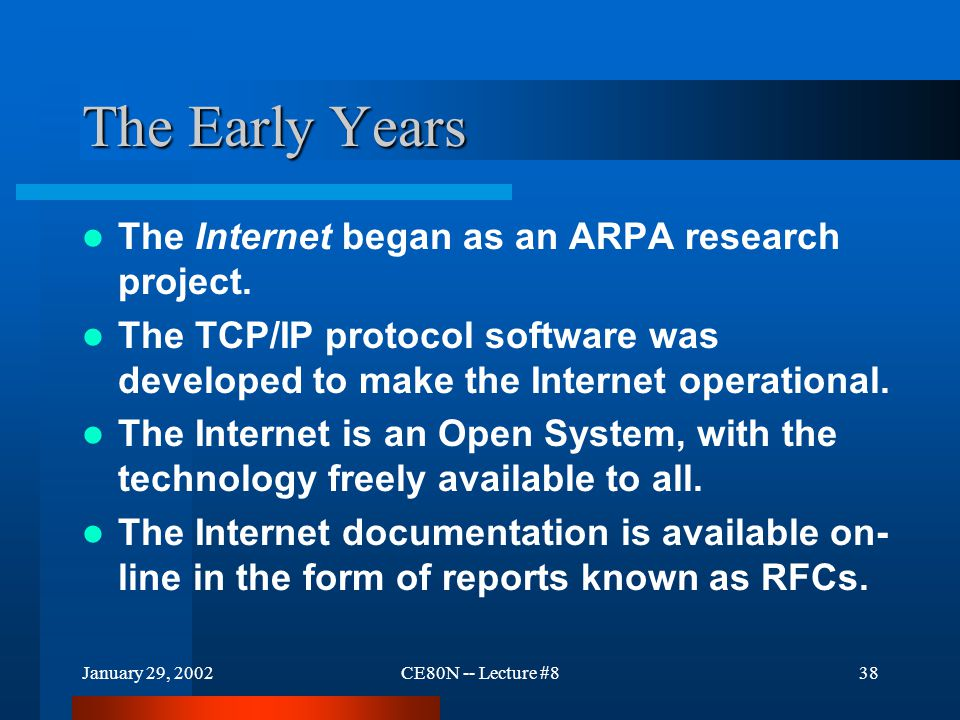 January 29, 2002CE80N -- Lecture #838 The Early Years The Internet began as an ARPA research project.