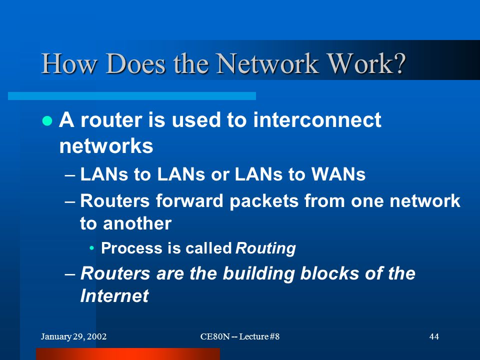 January 29, 2002CE80N -- Lecture #844 How Does the Network Work.
