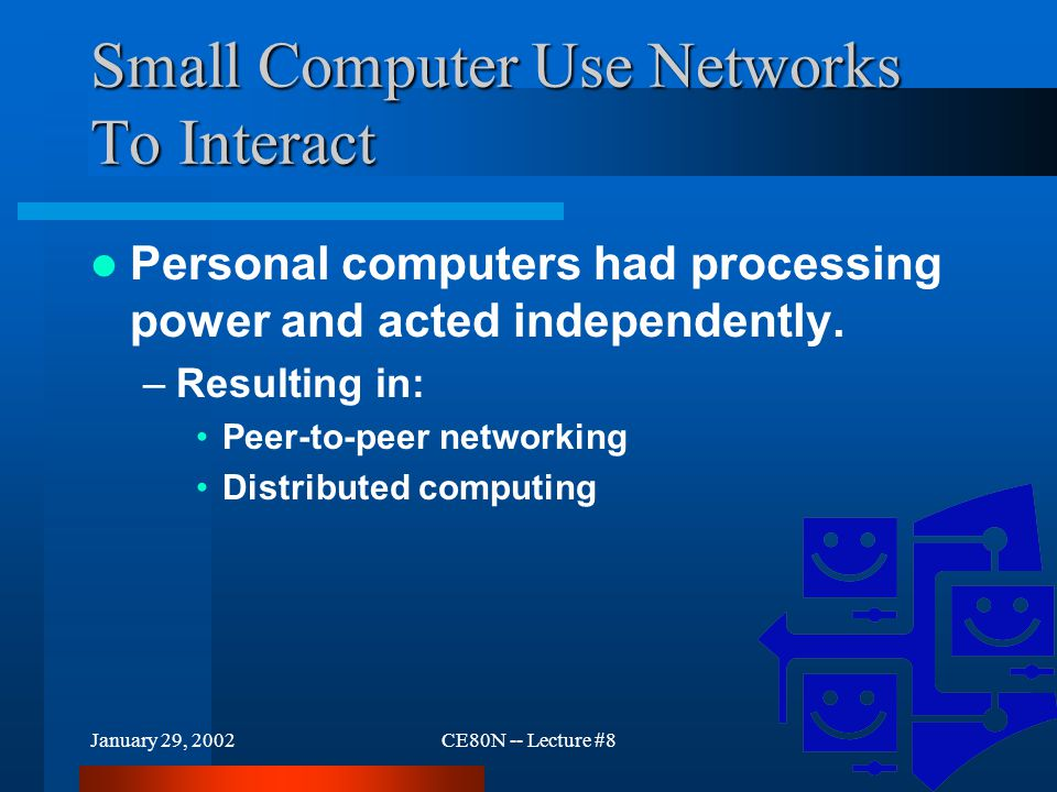 January 29, 2002CE80N -- Lecture #87 Small Computer Use Networks To Interact Personal computers had processing power and acted independently.