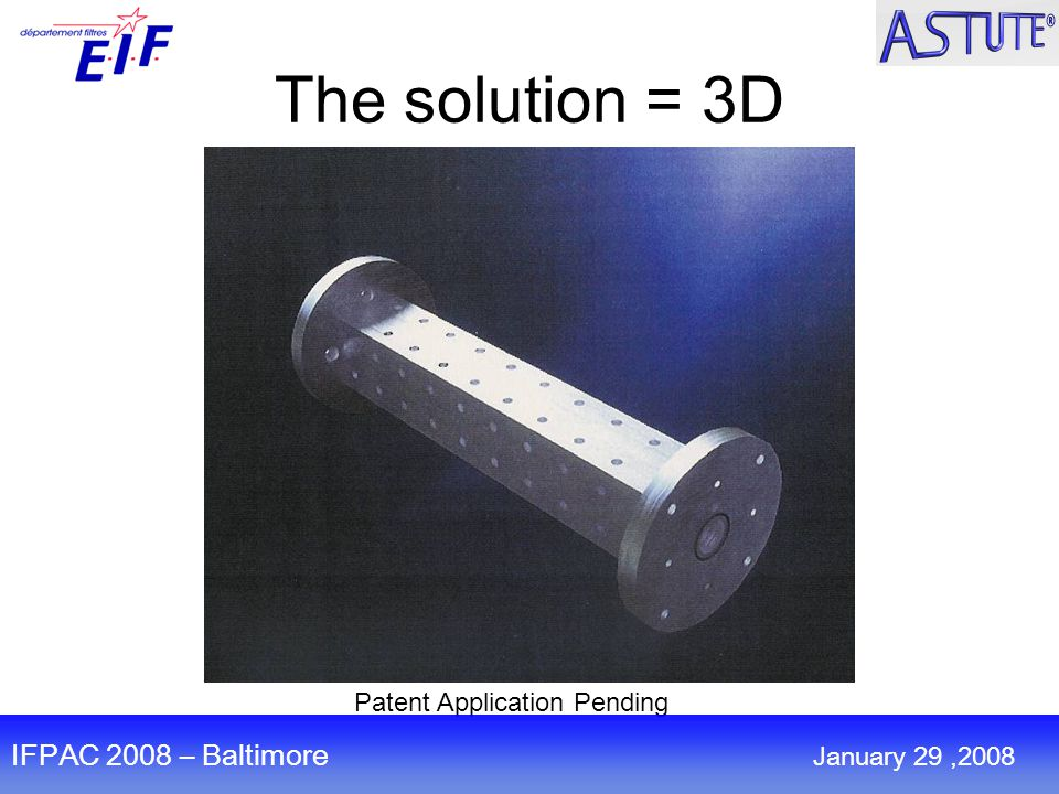 The solution = 3D Patent Application Pending IFPAC 2008 – Baltimore January 29,2008