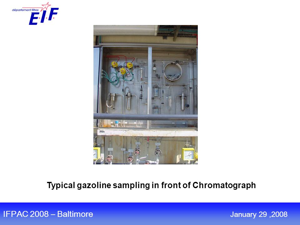 Typical gazoline sampling in front of Chromatograph IFPAC 2008 – Baltimore January 29,2008