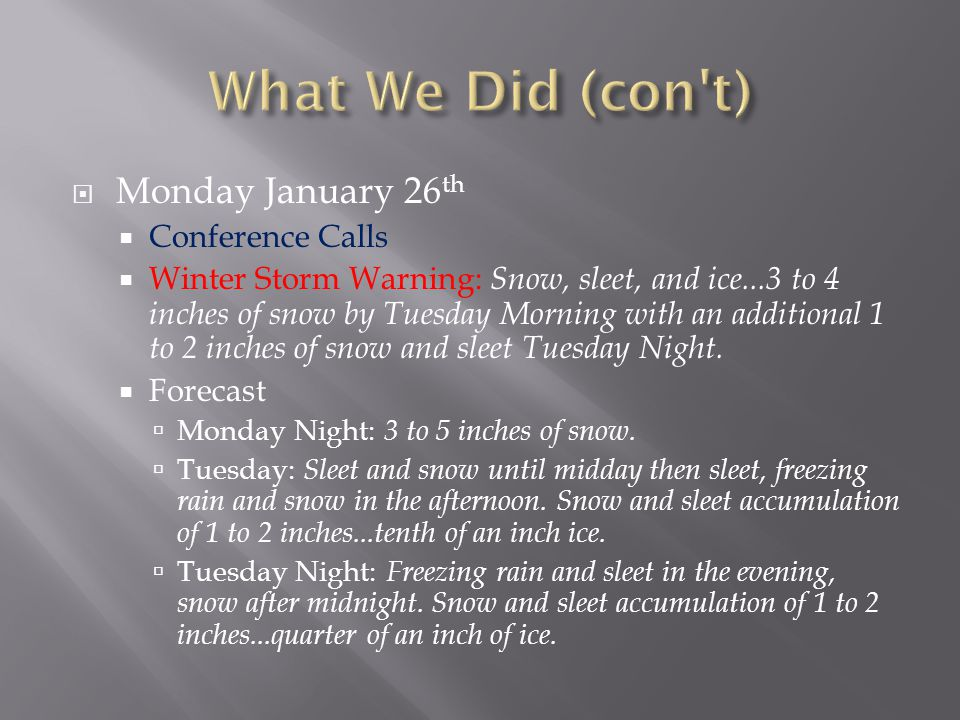  Monday January 26 th  Conference Calls  Winter Storm Warning: Snow, sleet, and ice...3 to 4 inches of snow by Tuesday Morning with an additional 1 to 2 inches of snow and sleet Tuesday Night.