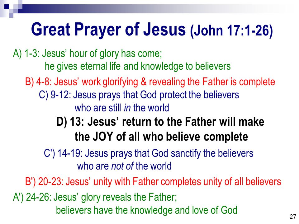 27 Great Prayer of Jesus (John 17:1-26) A) 1-3: Jesus' hour of glory has come; he gives eternal life and knowledge to believers B) 4-8: Jesus' work glorifying & revealing the Father is complete C) 9-12: Jesus prays that God protect the believers who are still in the world D) 13: Jesus' return to the Father will make the JOY of all who believe complete C ) 14-19: Jesus prays that God sanctify the believers who are not of the world B ) 20-23: Jesus' unity with Father completes unity of all believers A ) 24-26: Jesus' glory reveals the Father; believers have the knowledge and love of God