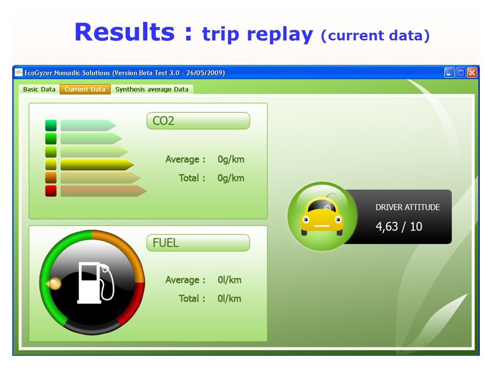 July 2009 Results : trip replay (current data)