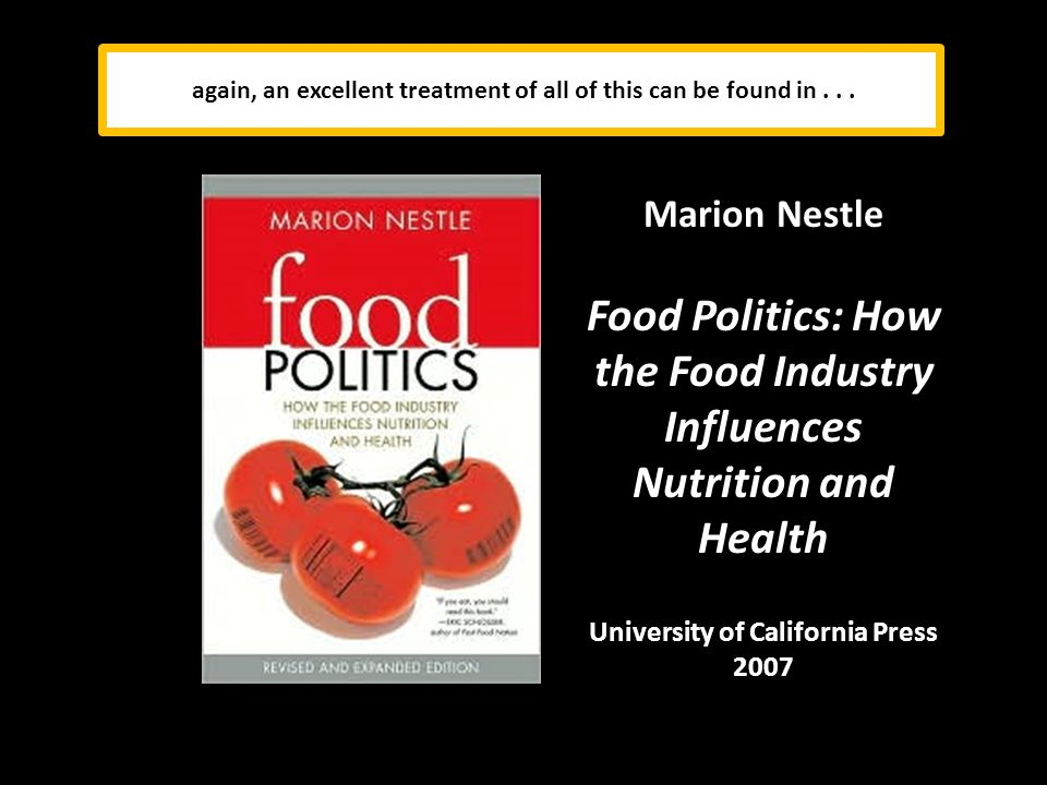 Marion Nestle Food Politics: How the Food Industry Influences Nutrition and Health University of California Press 2007 again, an excellent treatment of all of this can be found in...