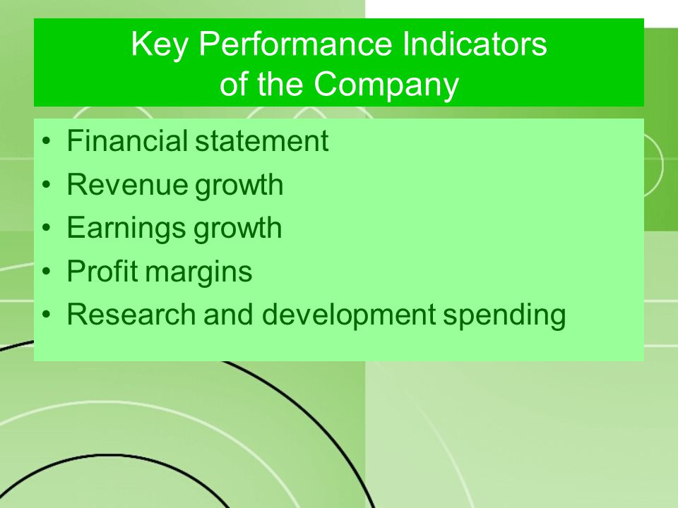 Key Performance Indicators of the Company Financial statement Revenue growth Earnings growth Profit margins Research and development spending
