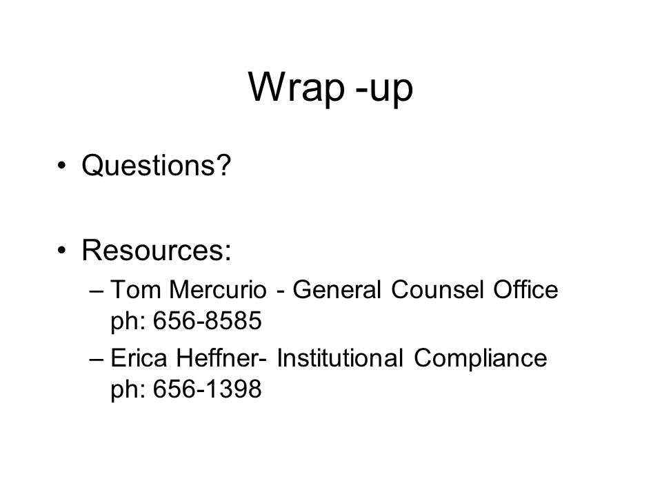 Wrap -up Questions.