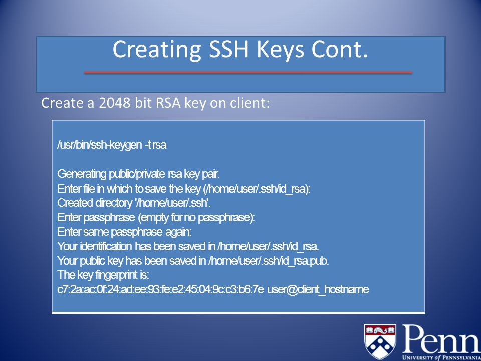 Creating SSH Keys Cont.
