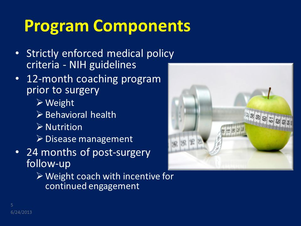 Program Components Strictly enforced medical policy criteria - NIH guidelines 12-month coaching program prior to surgery  Weight  Behavioral health  Nutrition  Disease management 24 months of post-surgery follow-up  Weight coach with incentive for continued engagement 6/24/2013 5