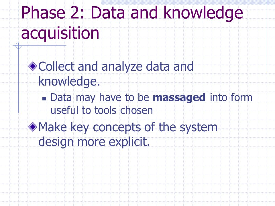 Phase 2: Data and knowledge acquisition Collect and analyze data and knowledge.