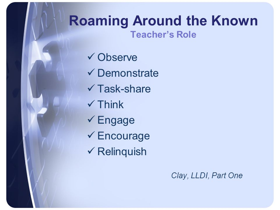 Roaming Around the Known Teacher's Role Observe Demonstrate Task-share Think Engage Encourage Relinquish Clay, LLDI, Part One