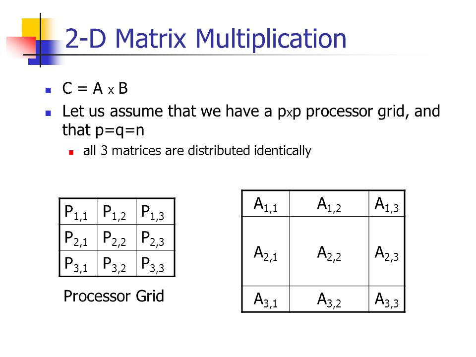 2-D Matrix Multiplication C = A x B Let us assume that we have a p x p processor grid, and that p=q=n all 3 matrices are distributed identically P 1,1 P 1,2 P 1,3 P 2,1 P 2,2 P 2,3 P 3,1 P 3,2 P 3,3 Processor Grid A 1,1 A 1,2 A 1,3 A 2,1 A 2,2 A 2,3 A 3,1 A 3,2 A 3,3