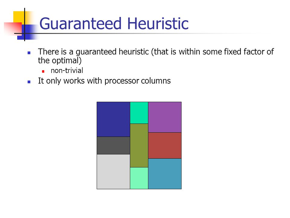 Guaranteed Heuristic There is a guaranteed heuristic (that is within some fixed factor of the optimal) non-trivial It only works with processor columns