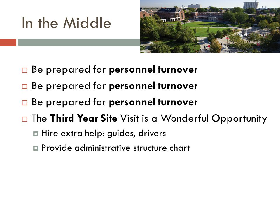 In the Middle  Be prepared for personnel turnover  The Third Year Site Visit is a Wonderful Opportunity  Hire extra help: guides, drivers  Provide administrative structure chart