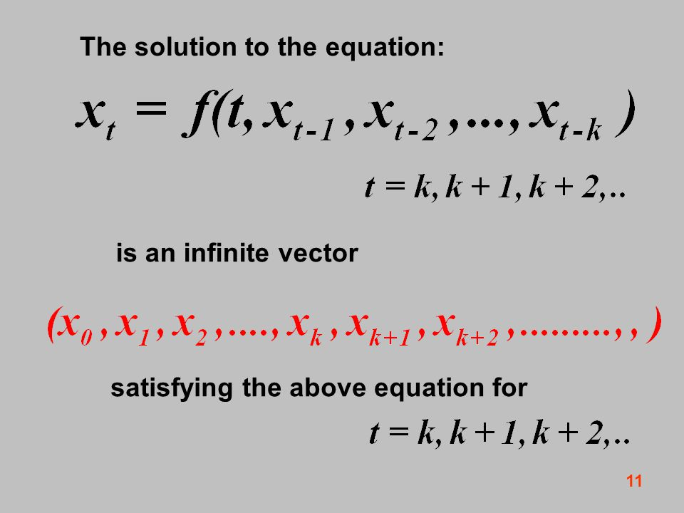 11 The solution to the equation: is an infinite vector satisfying the above equation for