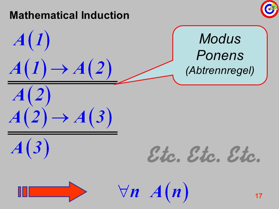 17 Mathematical Induction Etc. Etc. Etc. Modus Ponens (Abtrennregel)
