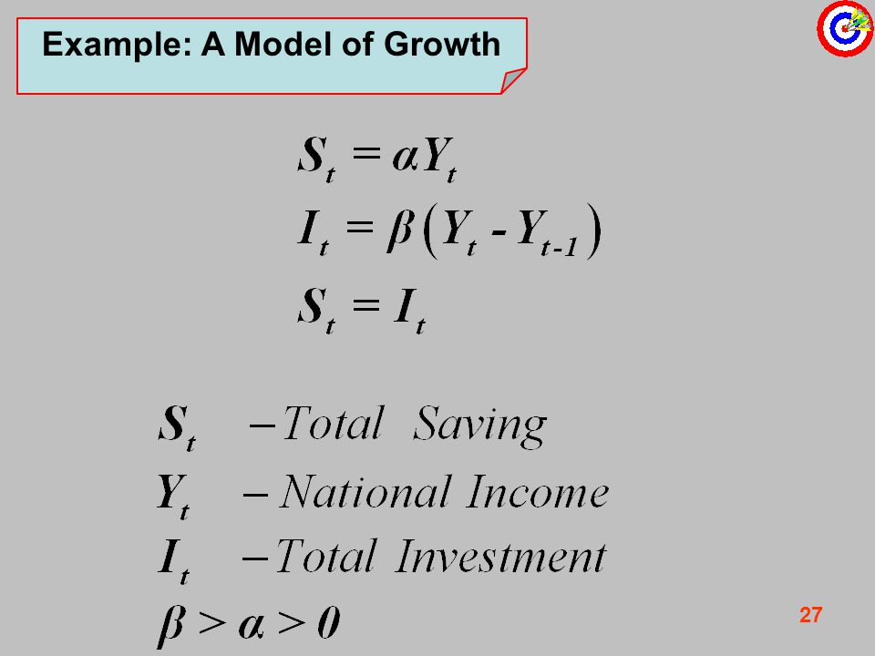 27 Example: A Model of Growth