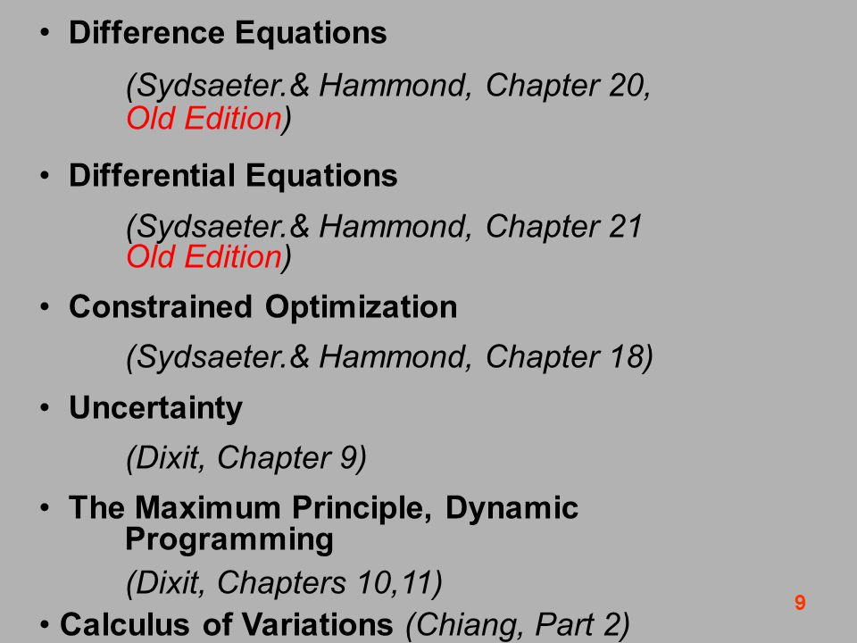 9 Difference Equations (Sydsaeter.& Hammond, Chapter 20, Old Edition) Differential Equations (Sydsaeter.& Hammond, Chapter 21 Old Edition) Constrained Optimization (Sydsaeter.& Hammond, Chapter 18) Uncertainty (Dixit, Chapter 9) The Maximum Principle, Dynamic Programming (Dixit, Chapters 10,11) Calculus of Variations (Chiang, Part 2)