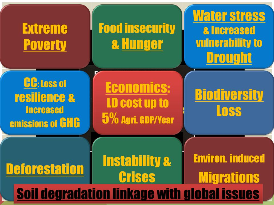 Extreme Poverty Water stress & Increased vulnerability to Drought Food insecurity & Hunger Biodiversity Loss CC : Loss of resilience & Increased emissions of GHG Environ.