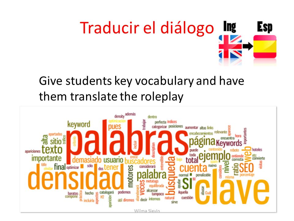 Traducir el diálogo Give students key vocabulary and have them translate the roleplay Wilma Slevin