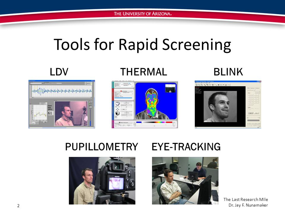 LDVTHERMALBLINK PUPILLOMETRYEYE-TRACKING Tools for Rapid Screening 2 The Last Research Mile Dr.