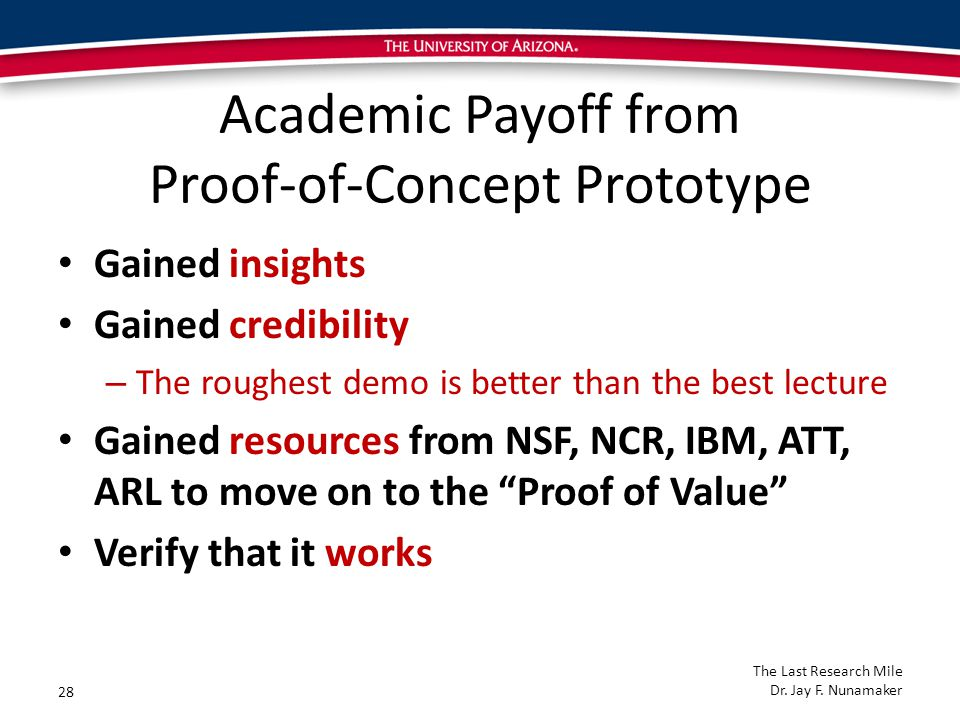 Academic Payoff from Proof-of-Concept Prototype Gained insights Gained credibility – The roughest demo is better than the best lecture Gained resources from NSF, NCR, IBM, ATT, ARL to move on to the Proof of Value Verify that it works 28 The Last Research Mile Dr.