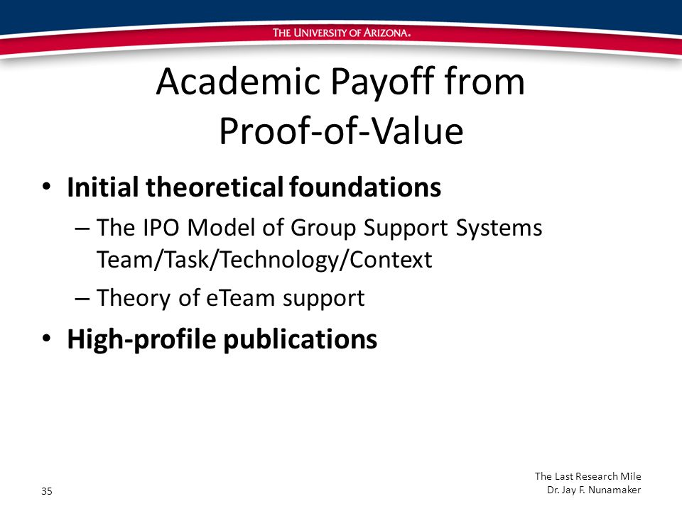 Academic Payoff from Proof-of-Value Initial theoretical foundations – The IPO Model of Group Support Systems Team/Task/Technology/Context – Theory of eTeam support High-profile publications 35 The Last Research Mile Dr.