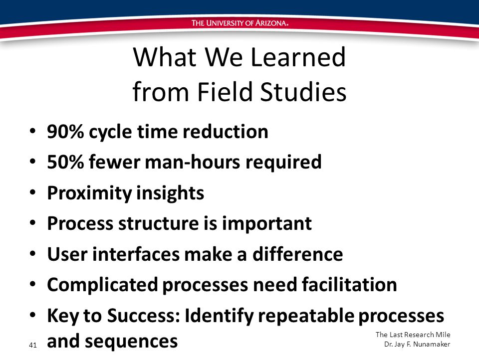 What We Learned from Field Studies 90% cycle time reduction 50% fewer man-hours required Proximity insights Process structure is important User interfaces make a difference Complicated processes need facilitation Key to Success: Identify repeatable processes and sequences 41 The Last Research Mile Dr.