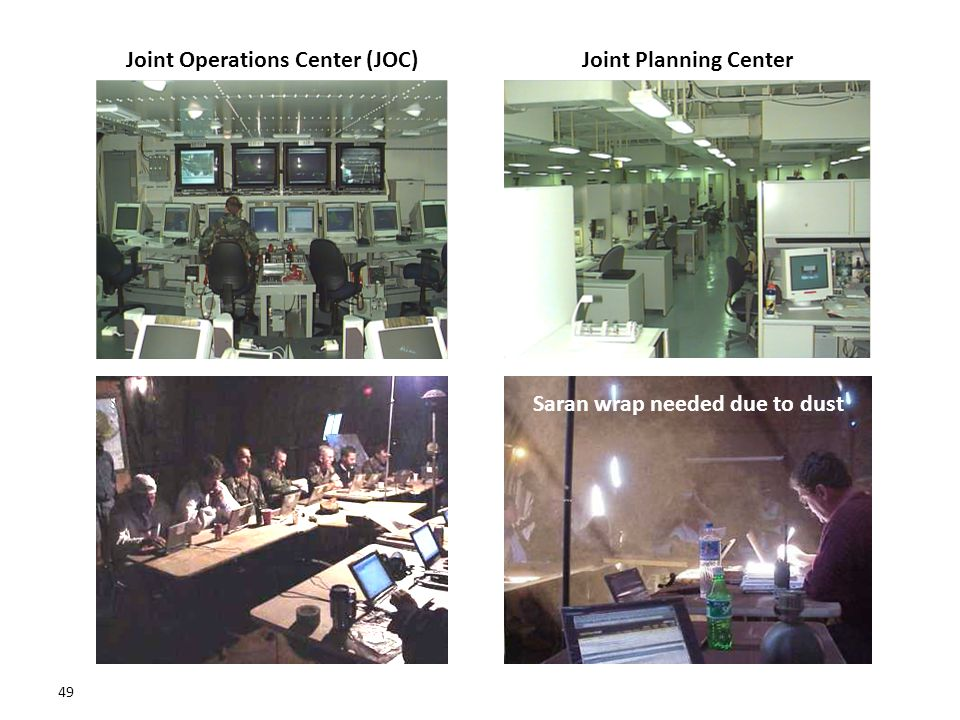 49 Joint Planning CenterJoint Operations Center (JOC) Saran wrap needed due to dust