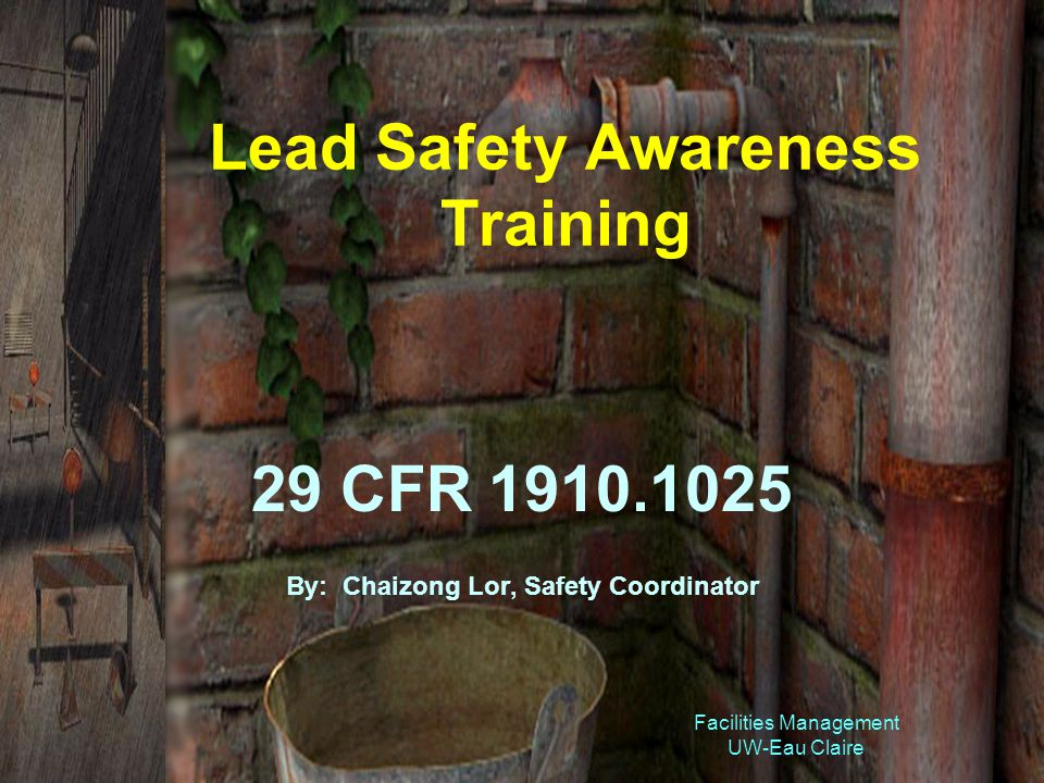Facilities Management UW-Eau Claire Lead Safety Awareness Training 29 CFR 1910.1025 By: Chaizong Lor, Safety Coordinator
