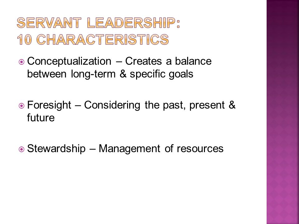  Conceptualization – Creates a balance between long-term & specific goals  Foresight – Considering the past, present & future  Stewardship – Management of resources