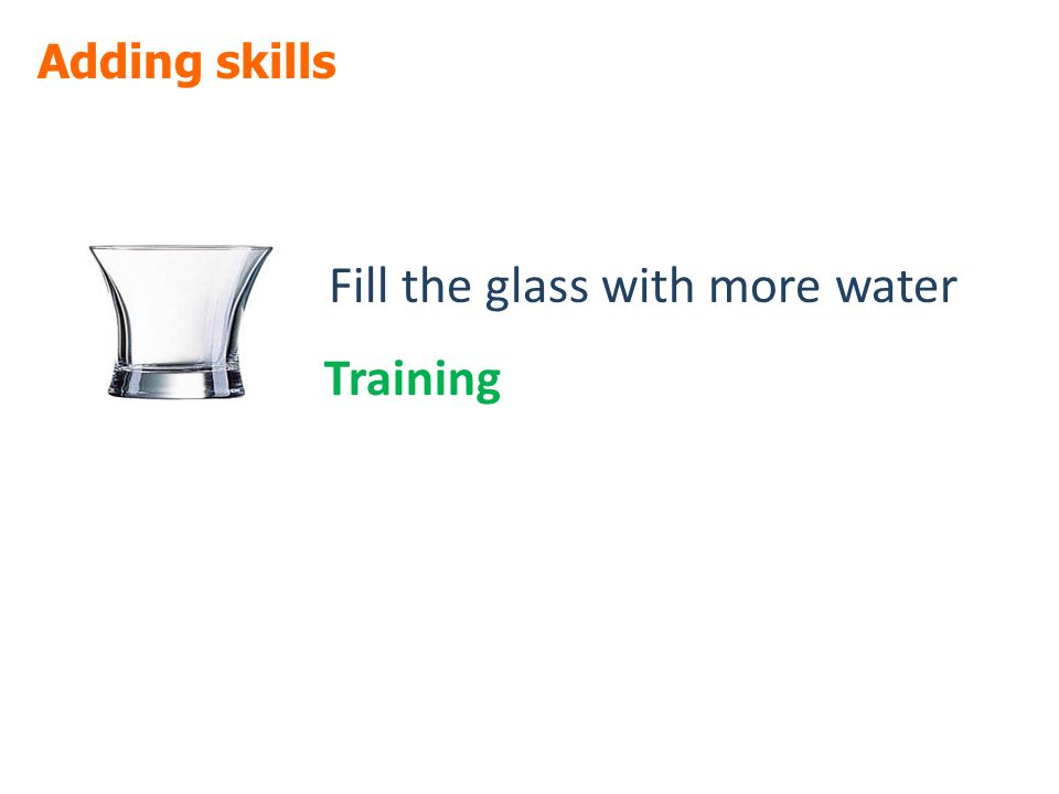 Adding skills Fill the glass with more water Training